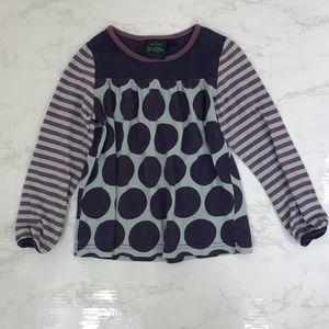 MINI BODEN Blue and Purple Dot Kids Top (5-6Y)